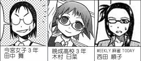 田中舞,木村日菜,西田順子、0票のメガネ3人